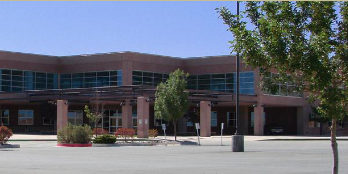 Parking lot view of front of Desert Hills Middle School